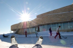 Playing pond hockey at the marsh